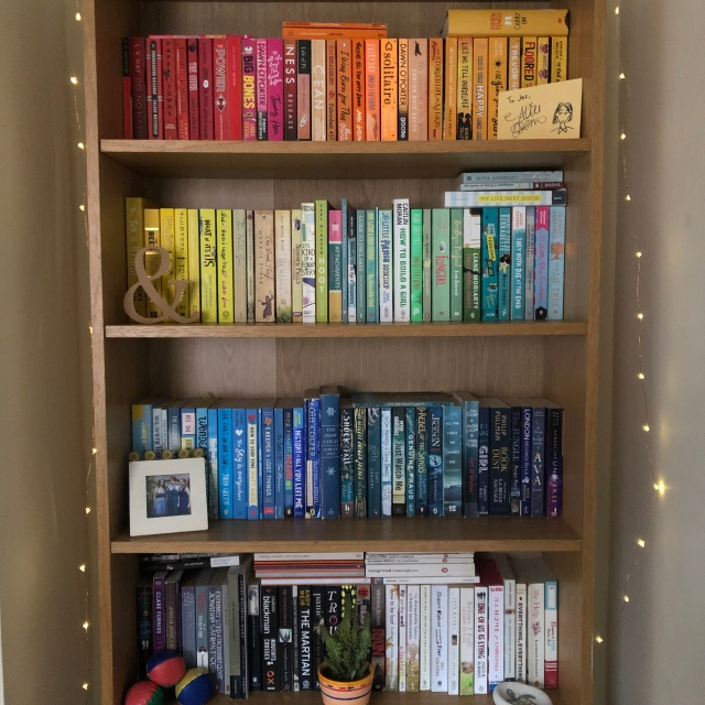 Rainbow coloured bookshelf, showing a large selection of YA novels.