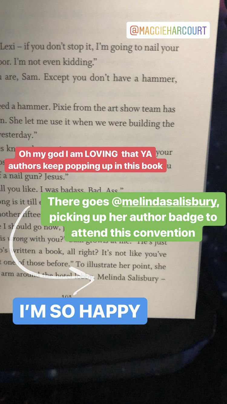 A screenshot from Instagram stories showing me getting excited that YA authors were appearing in the book.