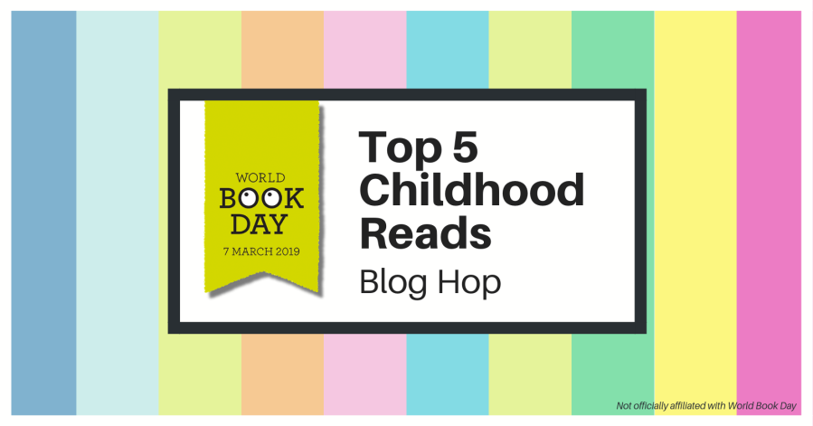 Rainbow blog hop banner - Top 5 childhood reads for World Book Day.