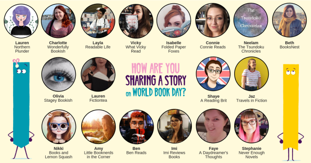 World Book Day banner with everyone's blog name and picture that are taking part in the blog hop.
